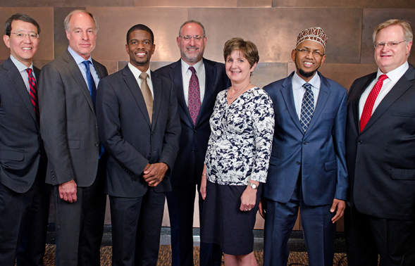 AML and Humphrey honorees with Dean Schwartz at Public Service Award Dinner