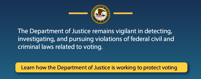 The Department of Justice remains vigilant in detecting, investigating, and pursuing violations of federal civil and criminal laws related to voting. Learn how the Department of Justice is working to protect voting