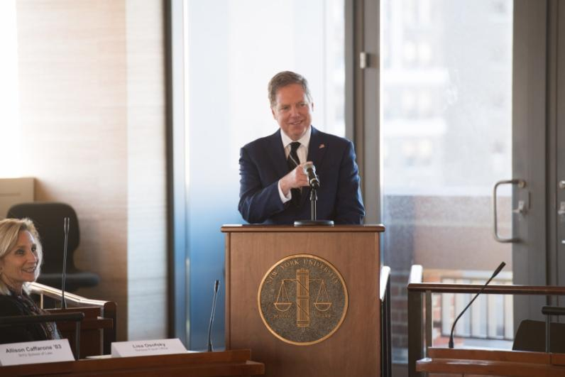 U.S. Attorney Geoffrey S. Berman delivering the keynote speech on achieving effective compliance at NYU - School of Law.