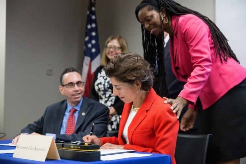 At a recent meeting of the Governor's Task Force on Overdose, Prevention, and Intervention, attended by Acting United States Attorney Stephen G. Dambruch, Governor Gina Raimondo, joined by Richard Baum, Acting Director of the White House Office of National Drug Control Policy, signed an 18-point executive order to raise awareness, outreach and access to treatment for addiction, particularly for opioid addiction.