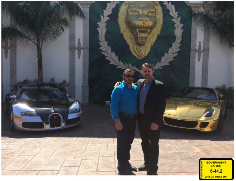 Jacob Kingston and Lev Aslan Dermen with Dermen's Bugatti and Kingston's Ferrari Exhibit 6-44.2, admitted at trial