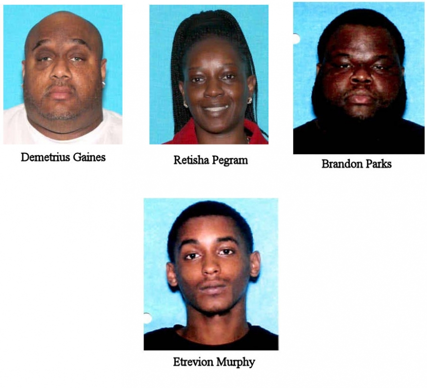 Pictures of fugitives Demetrius Gaines, Retisha Pegram, Brandon Parks, and Etrevion Murphy