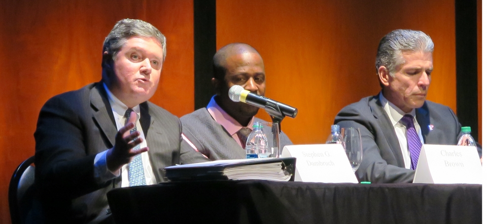 First Assistant United States Attorney Stephen Dambruch (left) speaking at a Publick Occurrences Forum on Pot and Profit hosted by the Providence Journal