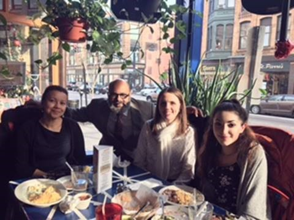 Tonya Ketchel a student at the MET School in Providence, lunching with prosecutors and a federal trial attorney during her career day visit with the U.S. Attorney's Office