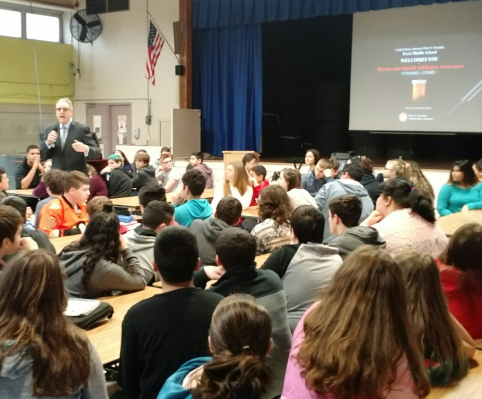 Thank you to the very attentive and engaging 8th grade classes at the Ferri Middle School in Johnston for inviting me to discuss opioid and heroin addiction, and to show the documentary Chasing the Dragon. A great group of students committed to making good choices!