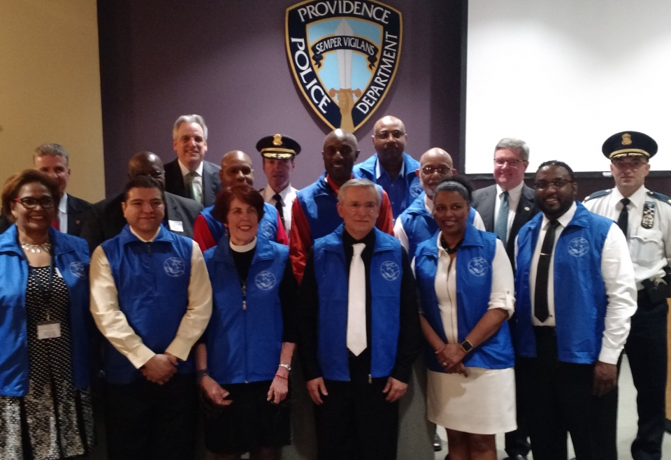 ​Congratulations to the Pilot Class of the Community Chaplain Corps on receiving your vests in recognition of your training and your commitment to provide guidance and support to foster strong relations between the community and the Providence Police Department. The U.S. Attorney's office is proud to partner with law enforcement, religious leaders and the community to continue to build trust and keep the lines of communication open between the community and law enforcement.