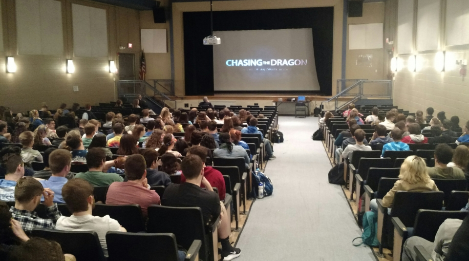 Days before their senior prom, more than 300 seniors at Cumberland High School took time learn about the impact of opioid and heroin addiction. Before and after a screen of the documentary Chasing the Dragon, discussions centered on the impact making good choices will have for the rest of their lives.