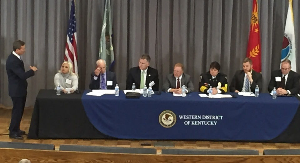 U.S. Attorney Kuhn leading a panel discussion