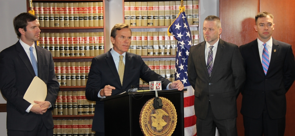 U.S. Attorney John Kuhn and Attorney General Andy Beshear announce federal charges