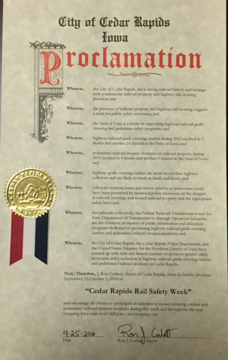 Rail Safety Proclamation