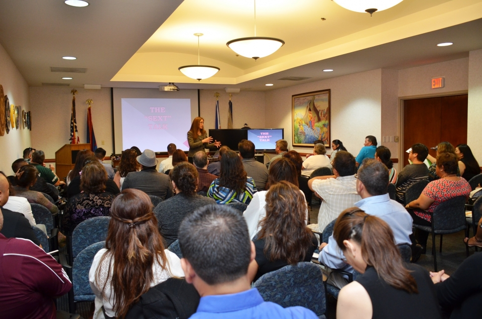 U.S. Attorney Alicia Limtiaco addressing the Guam Department of Education participants at the training