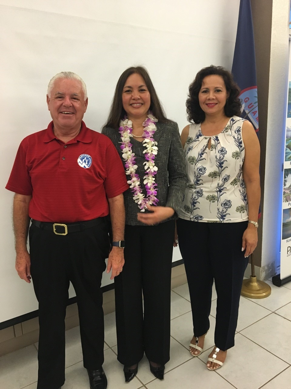 Picture of Monty McDowell, Member, PATA Board of Directors/Assistant Secretary Education Committee Co-Chair, U.S. Attorney Alicia Limtiaco and Pilar Laguana, President of PATA
