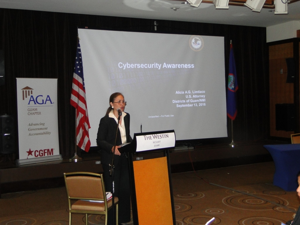 Picture of U.S. Attorney Alicia Limtiaco addressing participants at the AGA 	8th Bieenial Guam Professional Development Conference