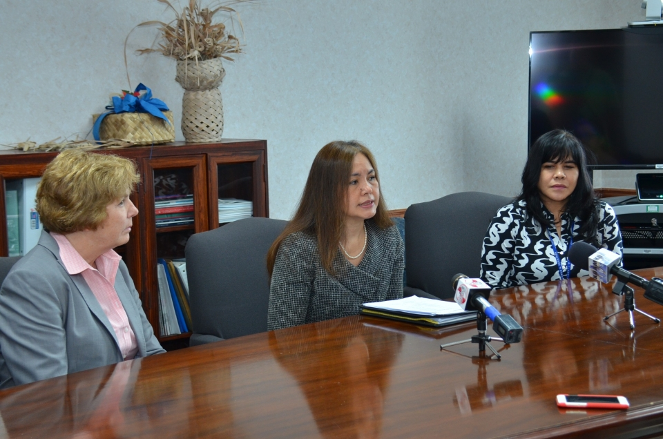 Picture of IRS-CI Special Agent in Charge Teri Alexander, U.S. Attorney Alicia Limtiaco and Special Agent Carolyn Aguon from the Department of Revenue and Taxation in Guam at a media event in Guam