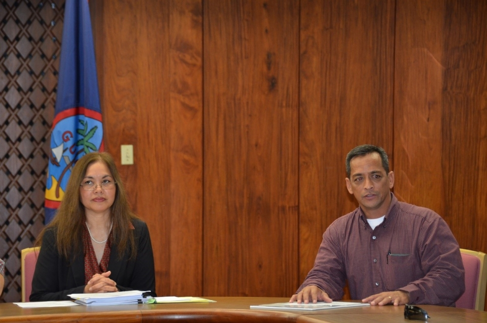 Picture of  U.S. Attorney Alicia Limtiaco with Senator Frank Blas Aguon, Jr. at the Resolution Reading in Guam for National Community Policing Week