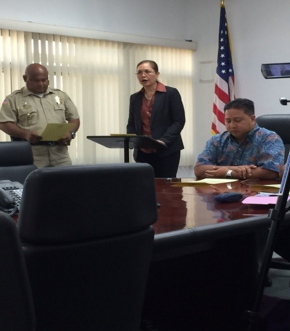 Picture of U.S. Attorney Alicia Limtiaco with NMI Department of Public Safety Commissioner Robert Guerrero and Governor of the NMI Ralph Torres at the Proclamation Signing for National Community Policing Week