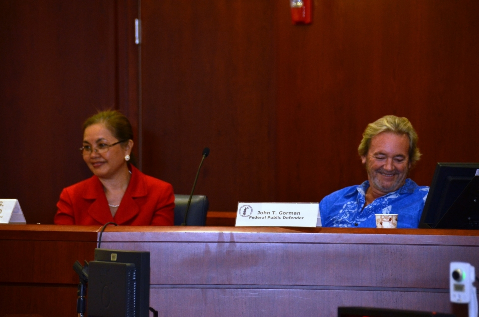 Picture of U.S. Attorney Alicia Limtiaco with Federal Public Defender John Gorman during their discussion on Miranda Rights at the U.S. District Court of Guam