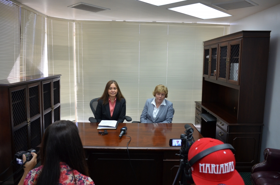 Picture of U.S. Attorney Alicia Limtiaco and IRS-CI Special Agent in Charge Teri Alexander at a media event in Saipan, NMI