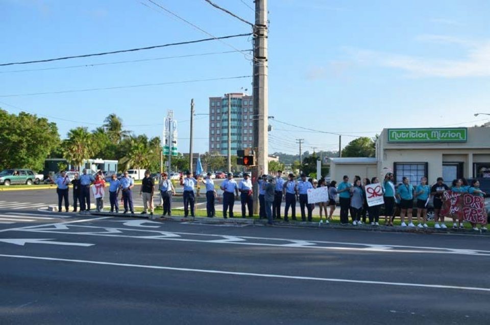 Picture of Police Recruits supporting the Red Ribbon Campaign WAVE in Hagatna, Guam
