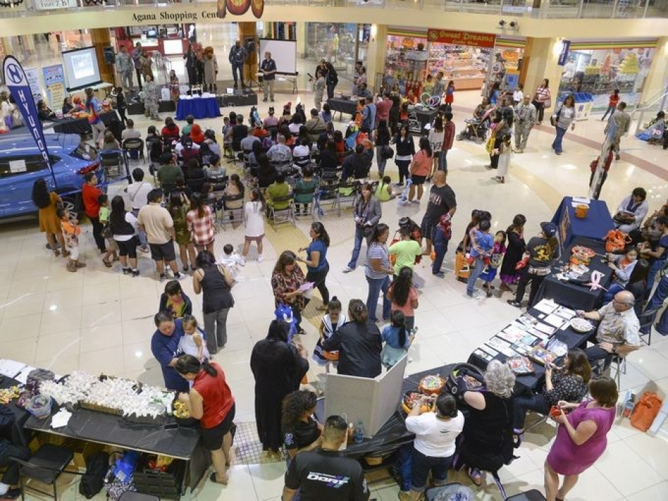 """An aerial view of the Say """"Boo"""" to Drugs event at the Agana Shopping Center in Guam"""