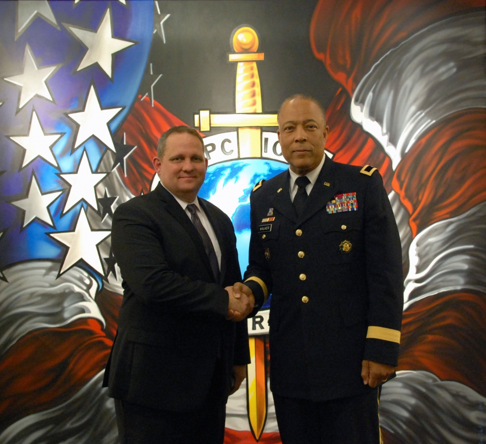 INTERPOL Washington Acting Director H. Wayne Salzgaber and Acting Commanding General of the D.C. National Guard William J. Walker.