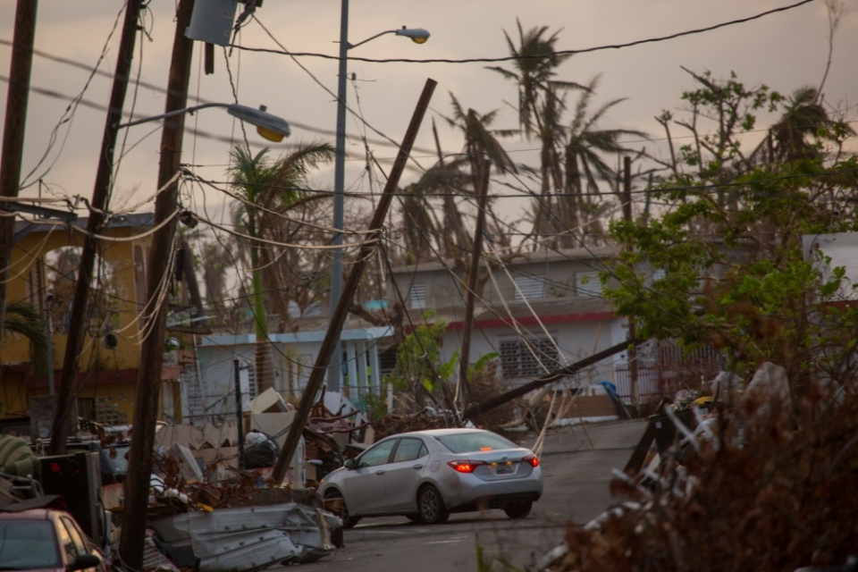 Santa Maria, Puerto Rico, October 8, 2017 -- Damaged properties in the Santa Maria neighborhood near Humacao, Puerto Rico. After Hurricane Maria, many homes, businesses, roads, bridges and government buildings suffered major damage due to strong winds and heavy rain.