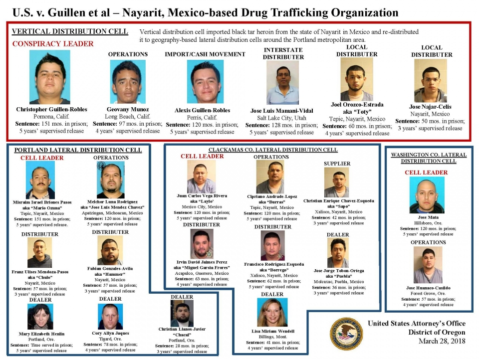 Organizational hierarchy of Guillen-Robles heroin trafficking conspiracy