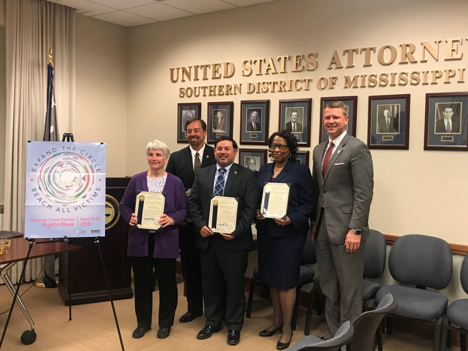 Picture shows U.S. Attorney Mike Hurst with award recipients Glenda Haynes, Todd Key, Lisa Dunn, Richard Johnson and Marge Whitmarsh