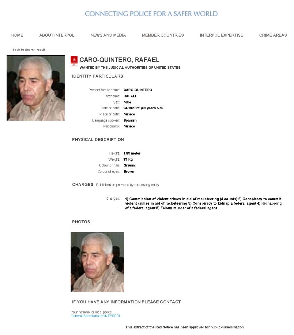 INTERPOL Red Notice for Rafael Caro-Quintero