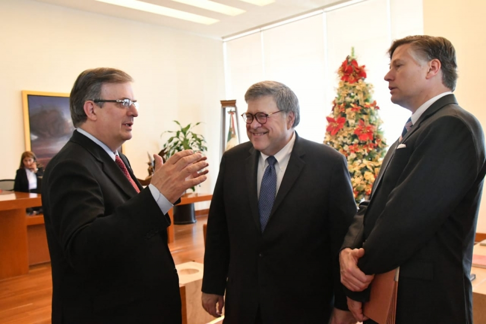 Foreign Minister Marcelo Ebrard Casaubon, Attorney General Barr and U.S. Ambassador Landau