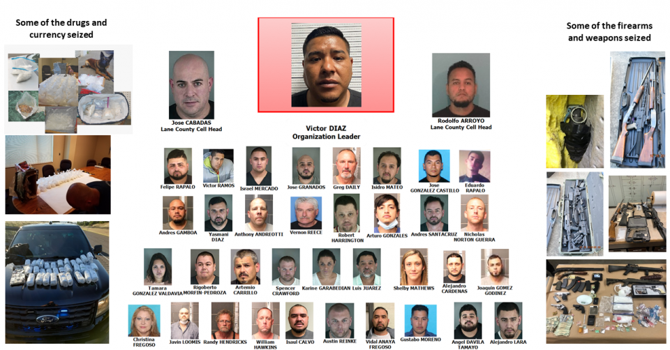 Victor Diaz, and organization, along with drugs, firearms, weapons, and currency seized