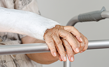 Elderly person's arm in cast