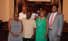 1st District Community Outreach specialist Carolyn Crank joined Court Services and Offender Supervision Agency Intergovernmental and Community Affairs Specialists Michael Bond and Lawrence Jordan at the First District Community Justice Advisory Network meeting at The Faith Tabernacle Church.