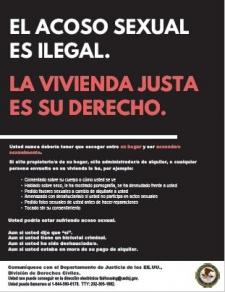 Poster – El Acoso Sexual en Vivienda es Ilegal