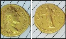 Gold coin featuring Emperor Hadrian Augustus Caesar