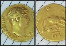 Gold coin featuring Antoninus Pius