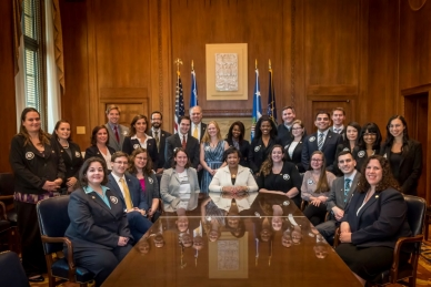 Attorney General Loretta E.Lynch and AmeriCorps Director Bill Basl with Elder Justice AmeriCorpsLawyers and Paralegals