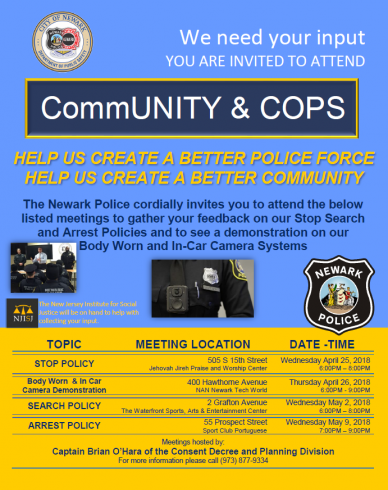 Flyer for upcoming NPD community Meetings