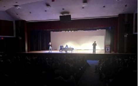 The cast of COAAST - Creating Outreach About Addiction Support Together - and the US Attorney's Office brought COAAST's production of Four Legs to Stand on to students at the Juanita Sanchez High School (above) and Woonsocket High School. Both productions were followed by open and free-flowing discussions about dealing with addiction.