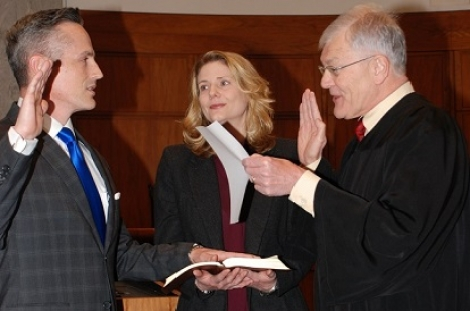 U.S. Attorney Timothy A. Garrison is sworn into office by Judge Duane Benton of the U.S. Court of Appeals for the Eighth Circuit.