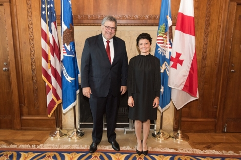 U.S. Attorney General William Barr (left) and Minister of Justice of Georgia Thea Tsulukiani (right)