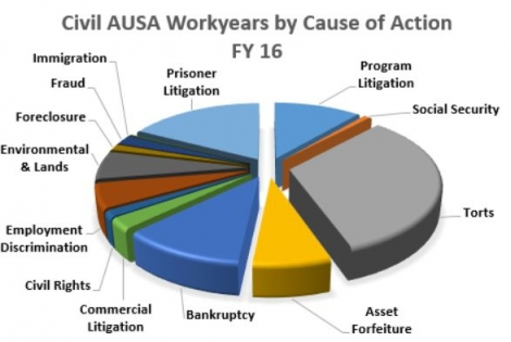 Civil AUSA workyears by Cause of Action