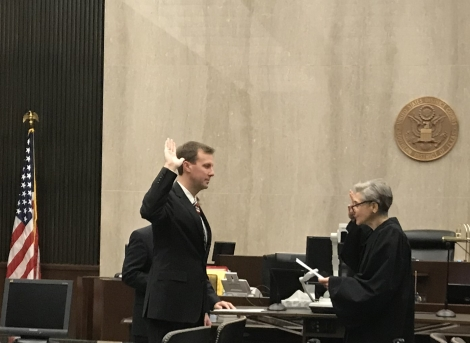 Chief U.S. District Judge Rosenthal adminsters the oast of office to new U.S. Attorney Patrick