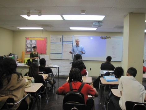 "1st District Community Prosecutor Doug Klein conducting a ""Know Your Rights Presentation"" at Caesar Chavez Public Charter School."
