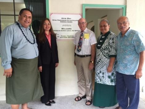 Picture of U.S. Attorney Alicia Limtiaco meeting with Director Fainu'ulelei Ala'ilima-Utu and his staff from the American Samoa Legal Services, in American Samoa
