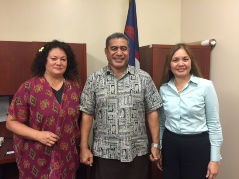 Picture of U.S. Attorney Alicia Limtiaco meeting with Suzanna Tiapula, Distinguished Fellow at IVAT and Utuali'i luniasolua Tului Savusa, Director, Department of Homeland Security and Chair of the Human Trafficking Task Force, in American Samoa