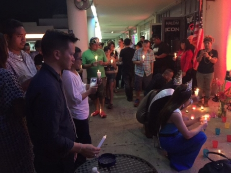 Photo taken at the Candlelight Vigil in memory of the victims of the Orlando shooting