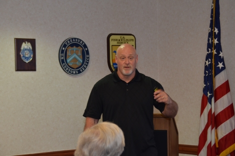 Picture of Steve Jensen, OCDETF Regional Coordinator of IRS-CI presenting on the topic of International Money Laundering