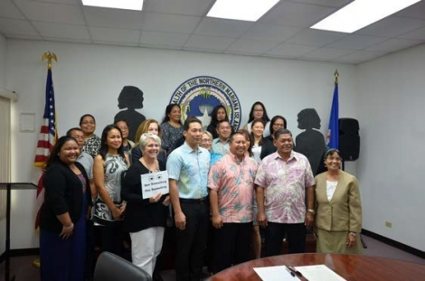 Picture of CNMI Human Trafficking Intervention Coalition members at the Governor's Office for the Proclamation Signing in Saipan, NMI