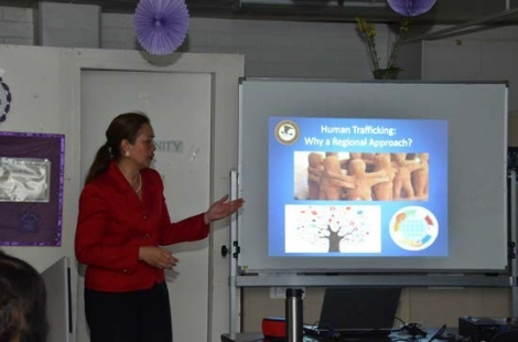 Picture of U.S. Attorney Alicia Limtiaco training nurses and staff at the Guam Department of Public Health and Social Services